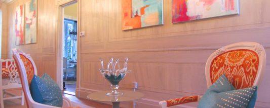 Reception Area, Faux woodgrained walls and custom art