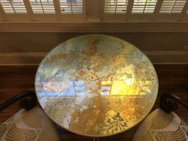 Reverse Painted Glass Table Top