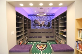 Raven's Read Library Reading Nook, Charles Carroll Barrister Elementary School, with Nancy Pascale, and Ravens Foundation