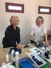 Yes, it really was a work trip! Learning how to create patterned papers resembling indigo dyed batik fabrics