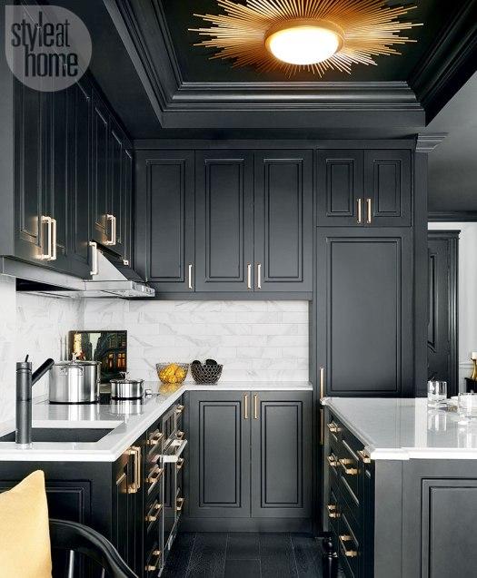 black kitchen brass cabinet painting lenehan studios baltimore